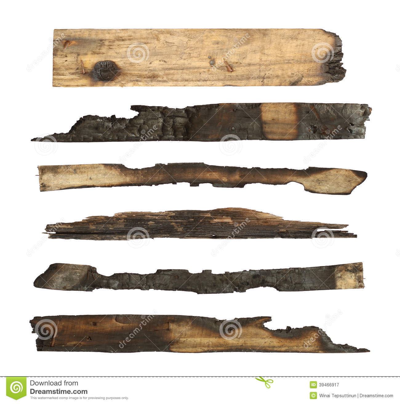 Charred wood plank stock image of board object