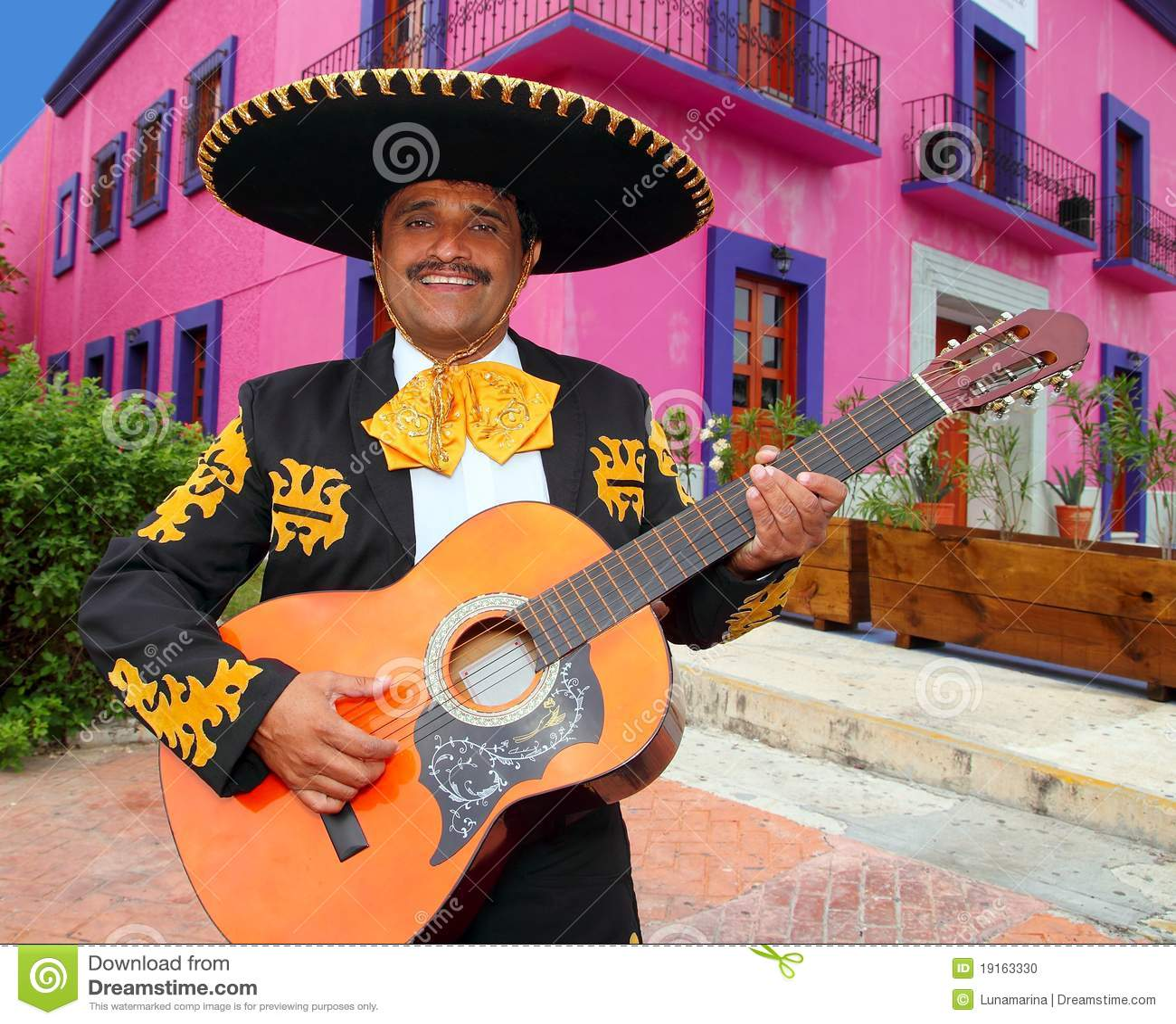 Charro吉他安置墨西哥流浪乐队墨西哥使