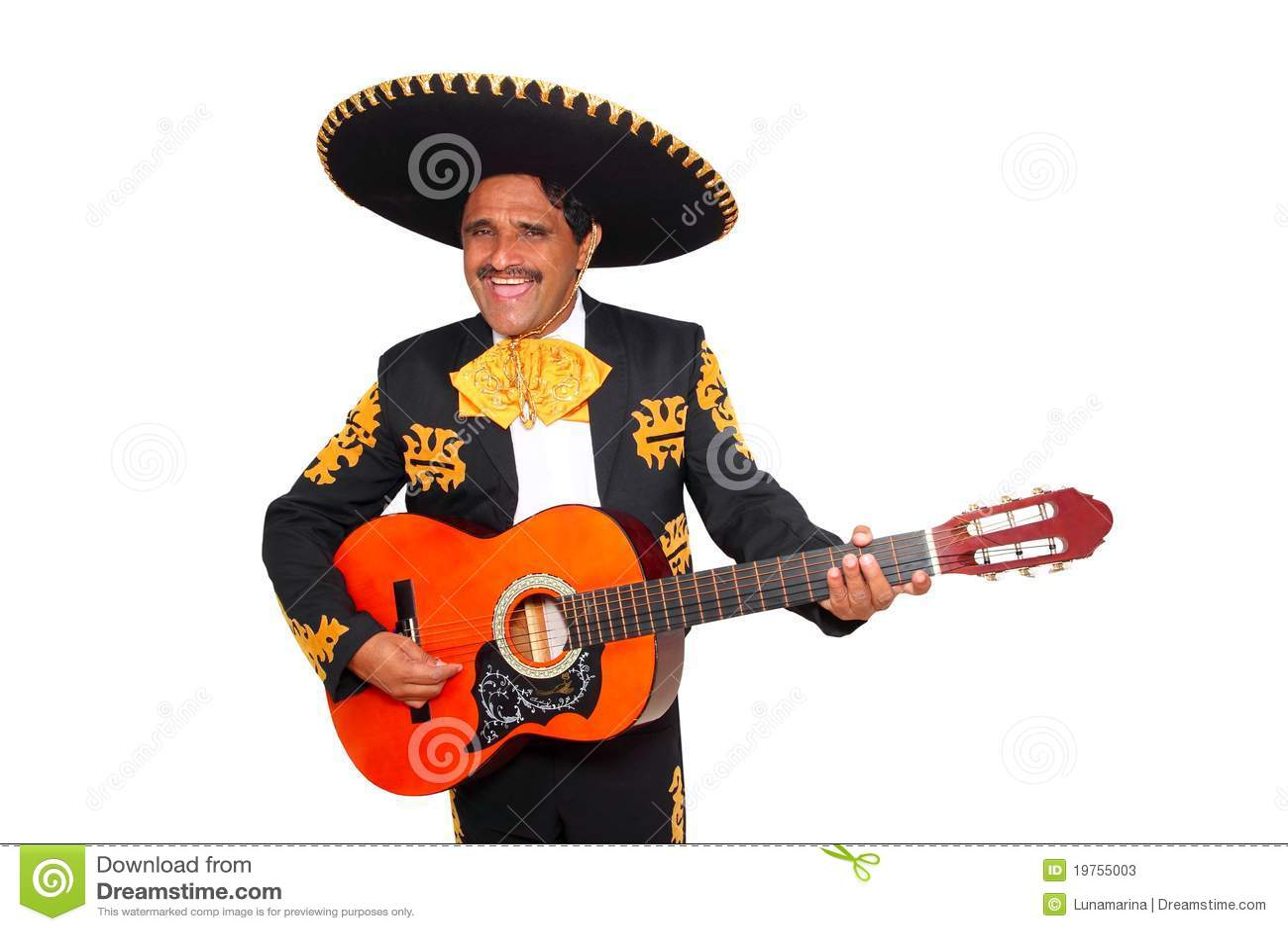 Charro吉他演奏白色的墨西哥流浪乐队墨#