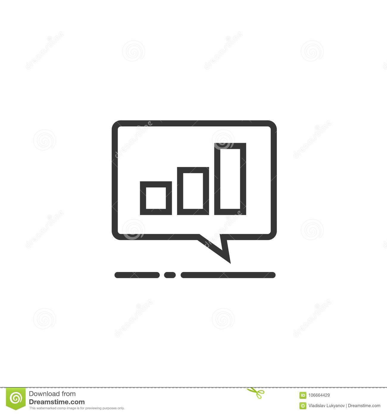 Chart or accounting result data icon vector symbol, line art outline pictogram of analytics or analysis graph in chat