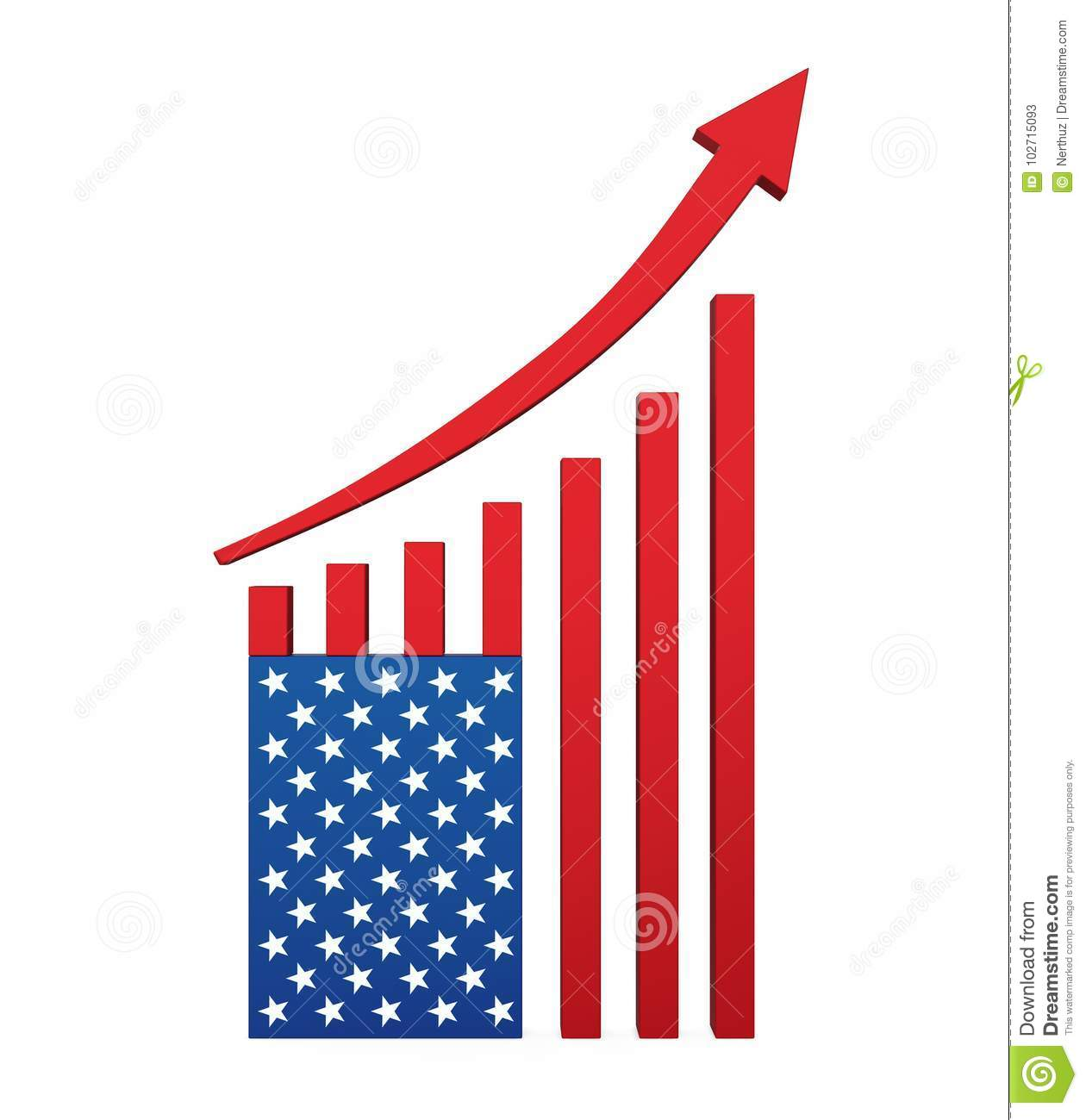 Chart American Flag With Arrow Up Stock Illustration Illustration