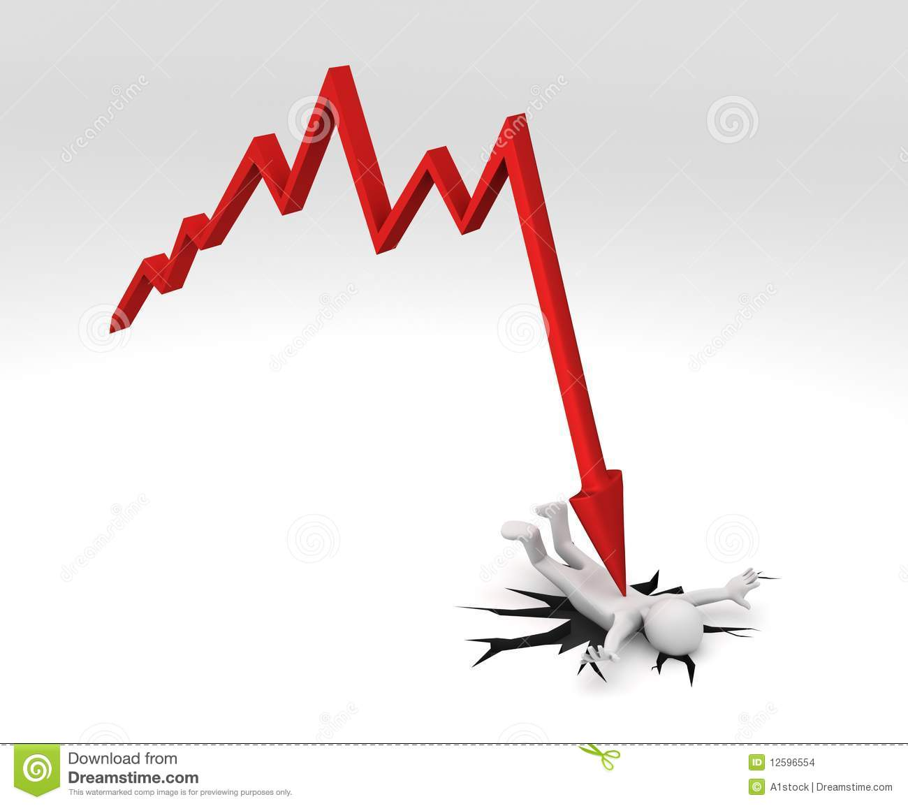 Chart Crashing Down On Person Stock Illustration ...