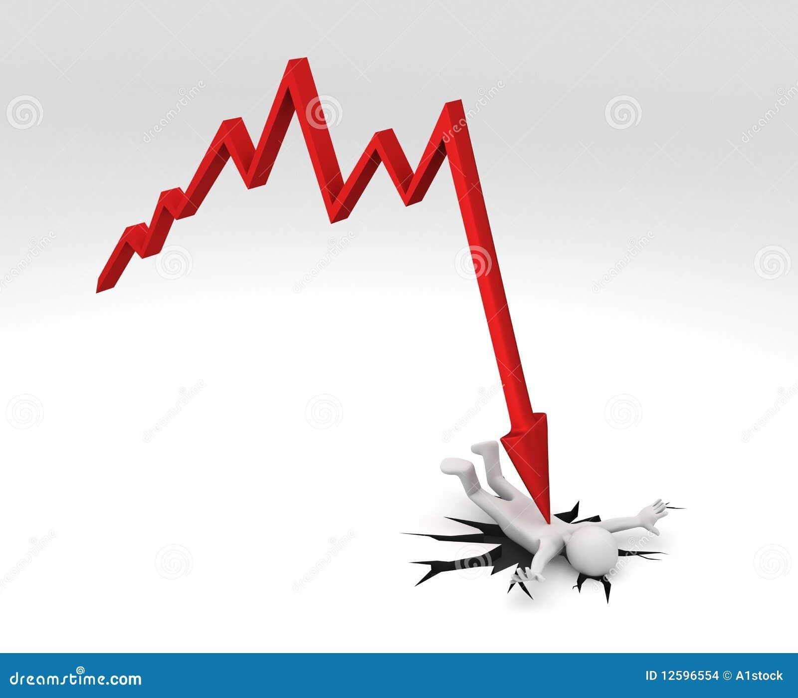 Chart Crashing Down On Person Stock Illustration ...