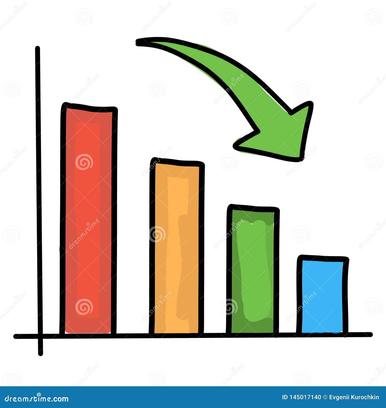 Chart down. Vector drawing
