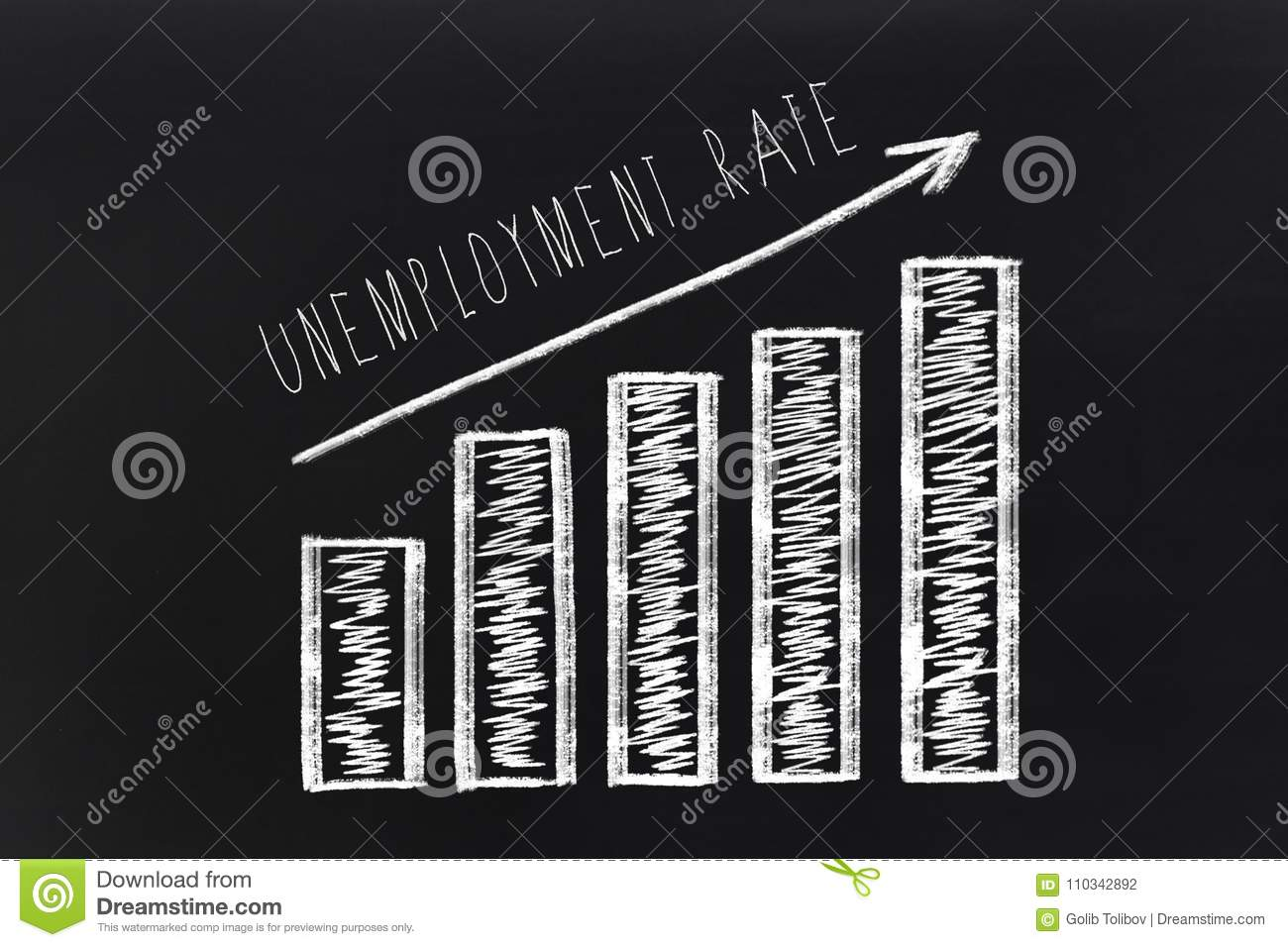 Chart of growing unemployment rate with a increasing arrow sign on the chalkboard.