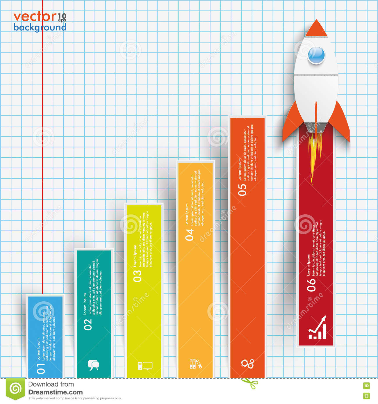Chart Growth Colored Bars Rocket Checked Paper Stock Vector