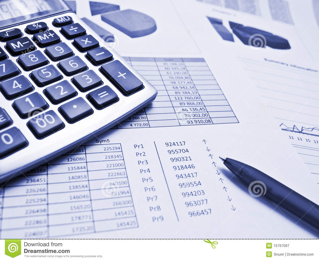 chart with pen and calculator stock image