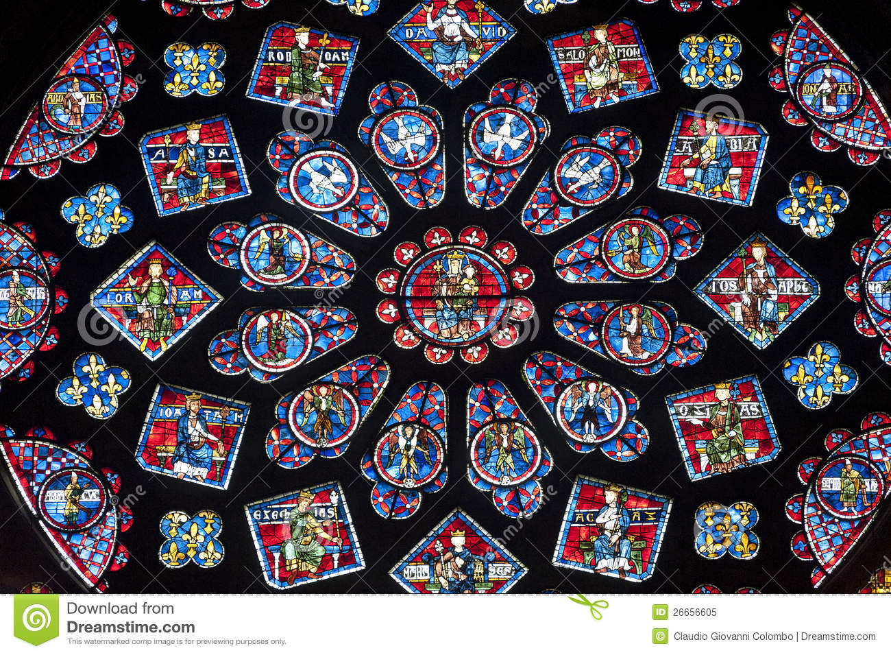 chartres cathedral interior rose window royalty free
