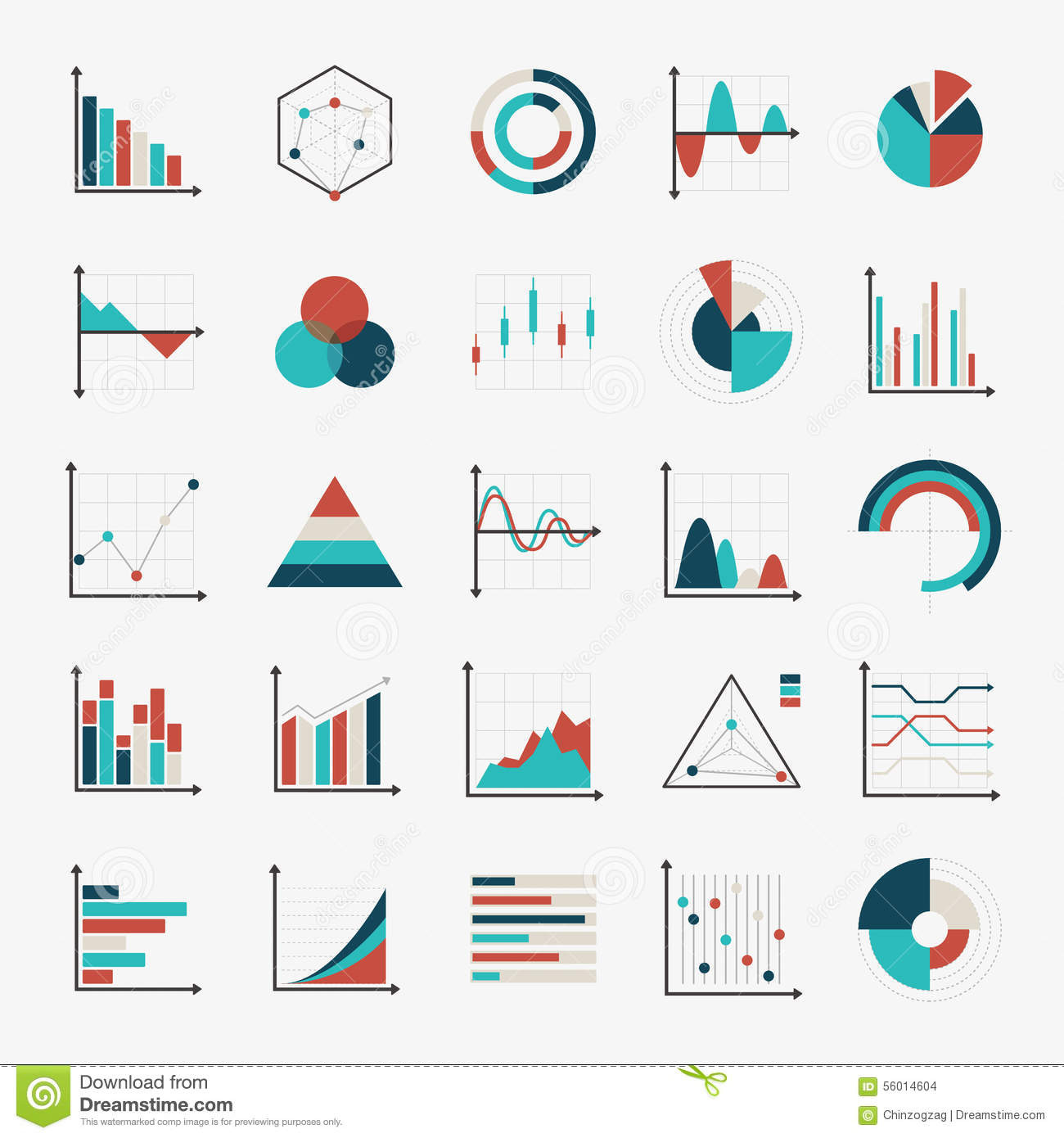 charts diagrams and graphs flat icons stock vector   image    charts diagrams and graphs flat icons