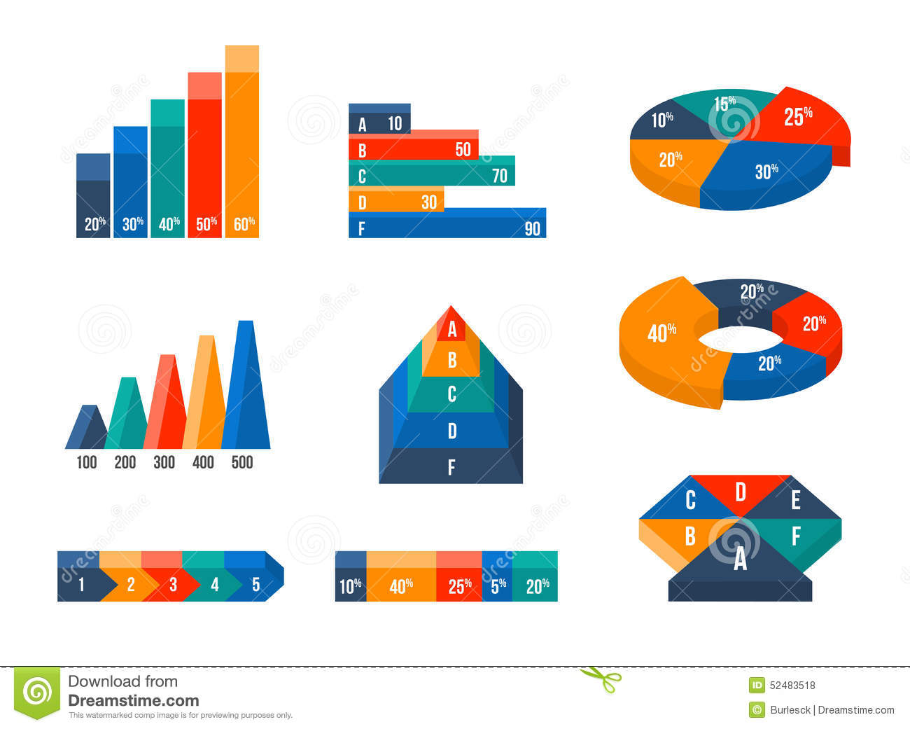 charts  diagrams and graphs in modern isometric d stock vector    charts  diagrams and graphs in modern isometric d
