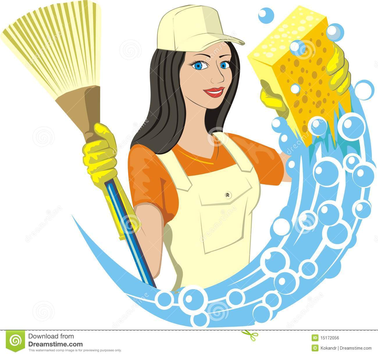 Charwoman stock vector image of profession ballon broom - Limpieza en casa ...