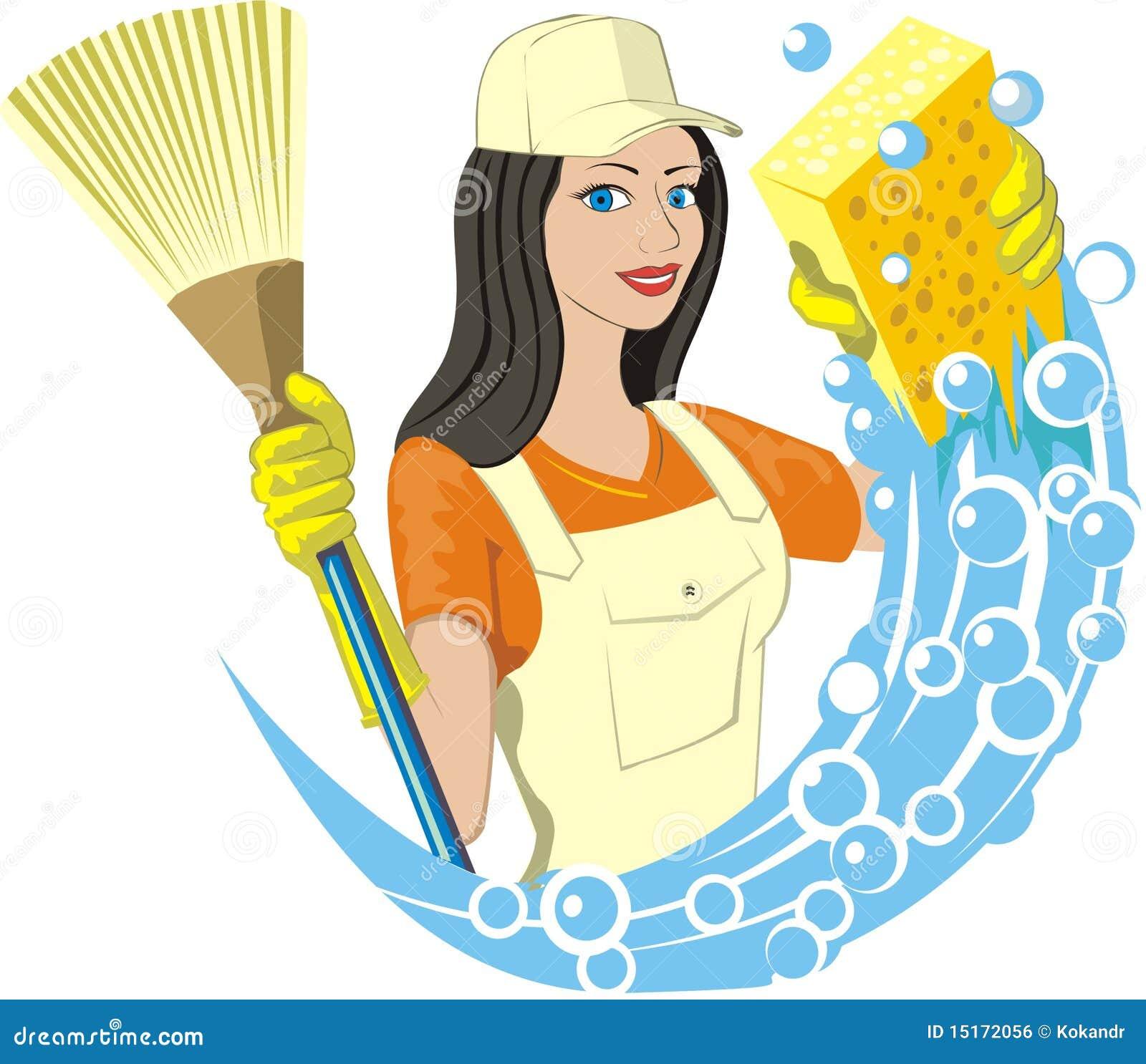 Charwoman stock vector image of profession ballon broom - Imagenes de limpieza de casas ...