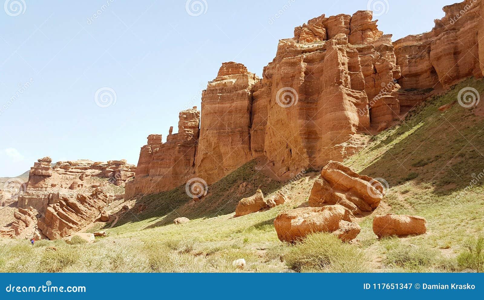 Charyn峡谷在Kasachstan