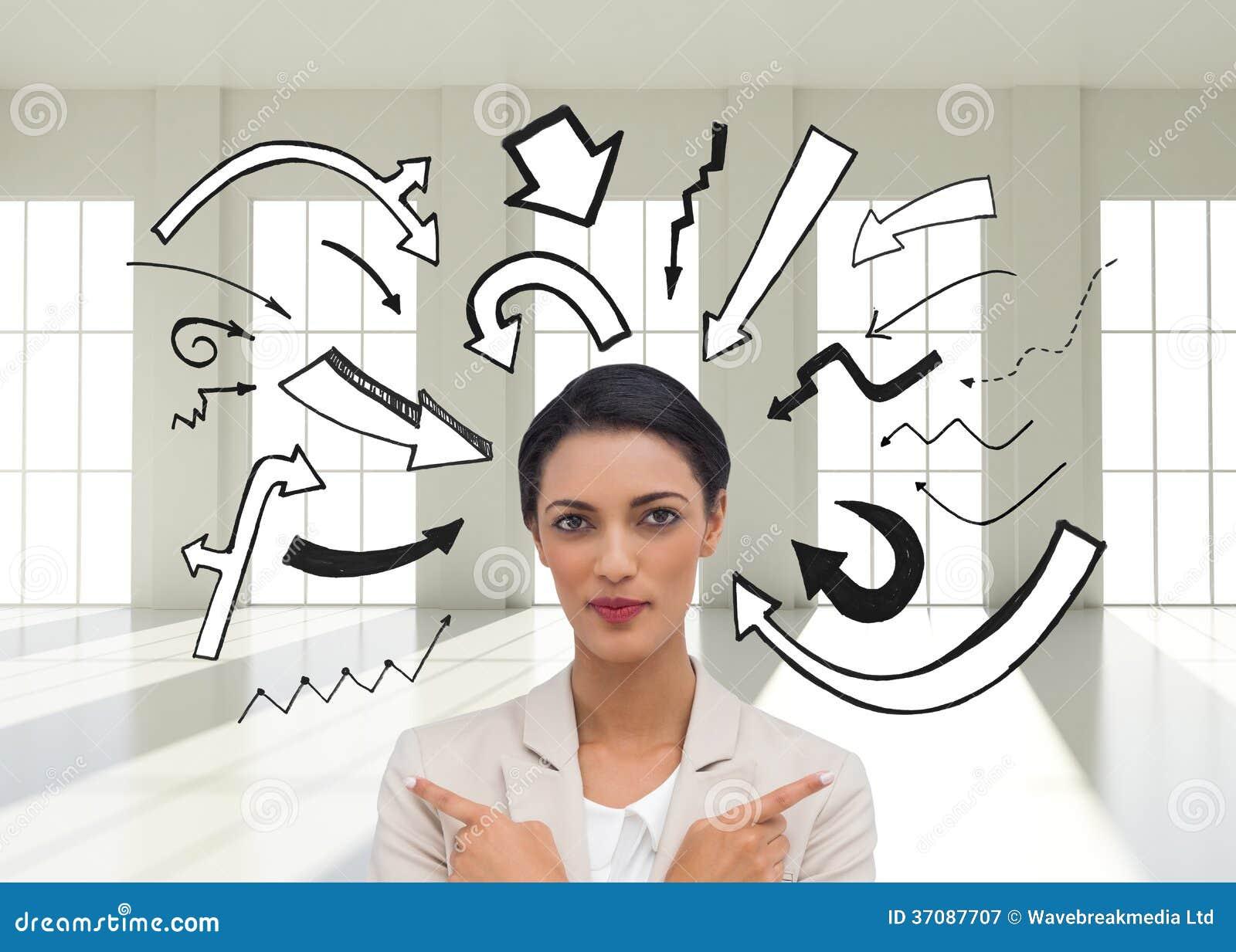 Download Charyzmatyczny Bizneswoman Z Jej Rękami I Palców Wskazywać Krzyżował Obraz Stock - Obraz złożonej z well, okno: 37087707