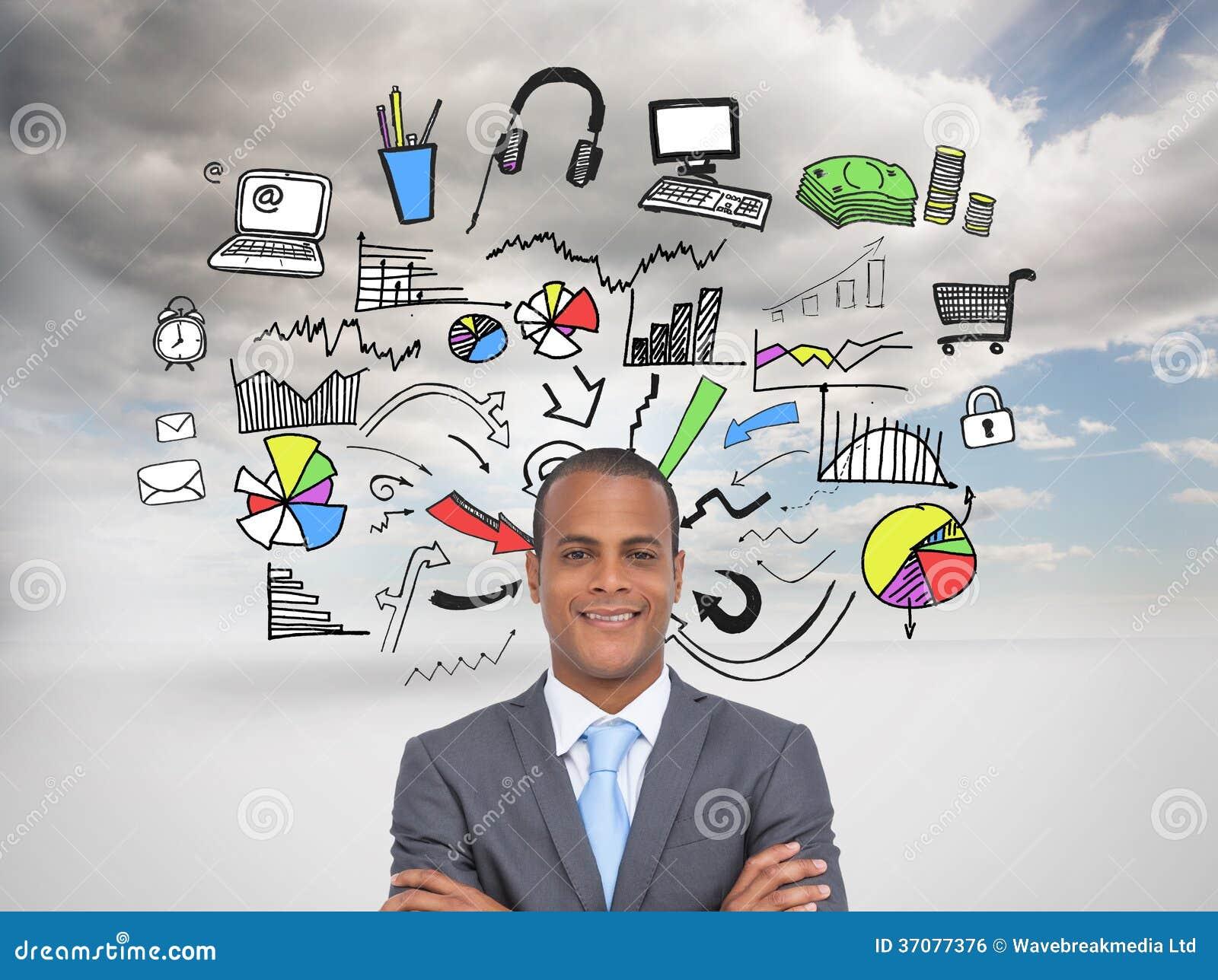 Download Charyzmatyczny Młody Biznesmen Z Rękami Krzyżować Zdjęcie Stock - Obraz złożonej z środowisko, sunlight: 37077376