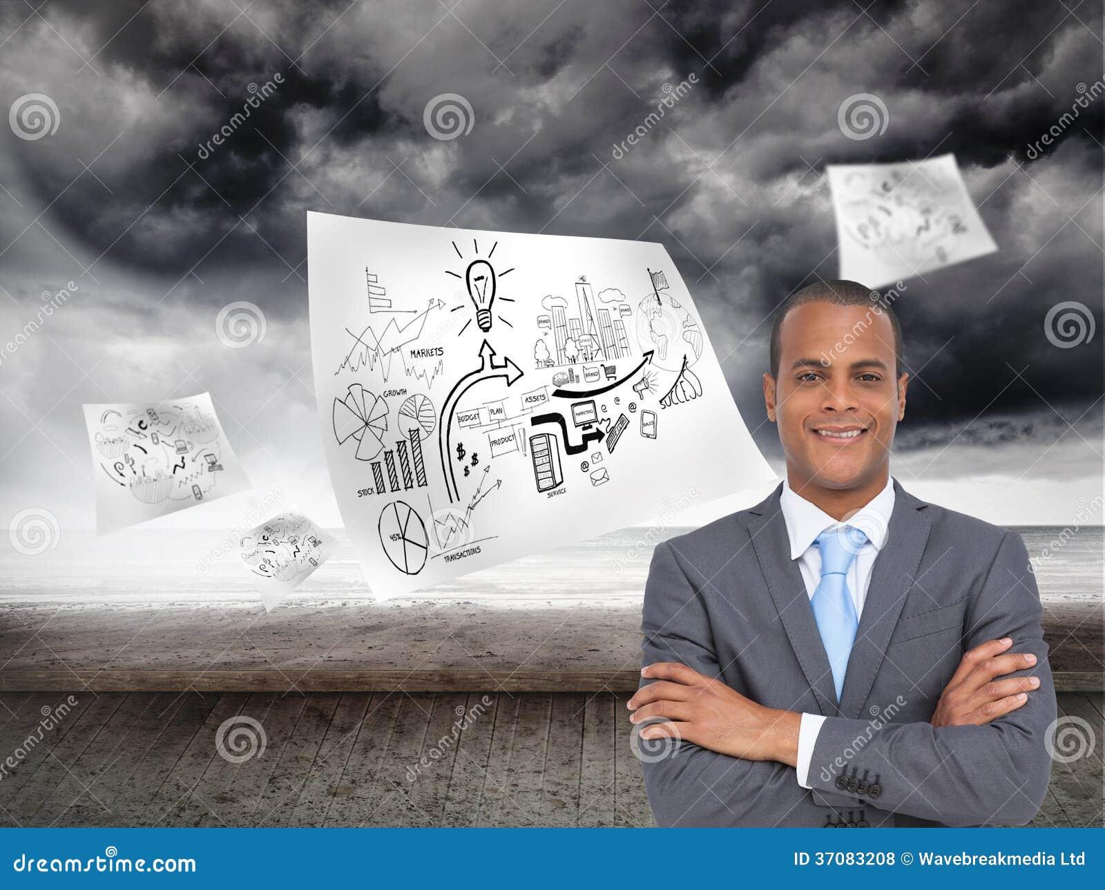 Download Charyzmatyczny Młody Biznesmen Z Rękami Krzyżować Zdjęcie Stock - Obraz złożonej z biznes, sheik: 37083208