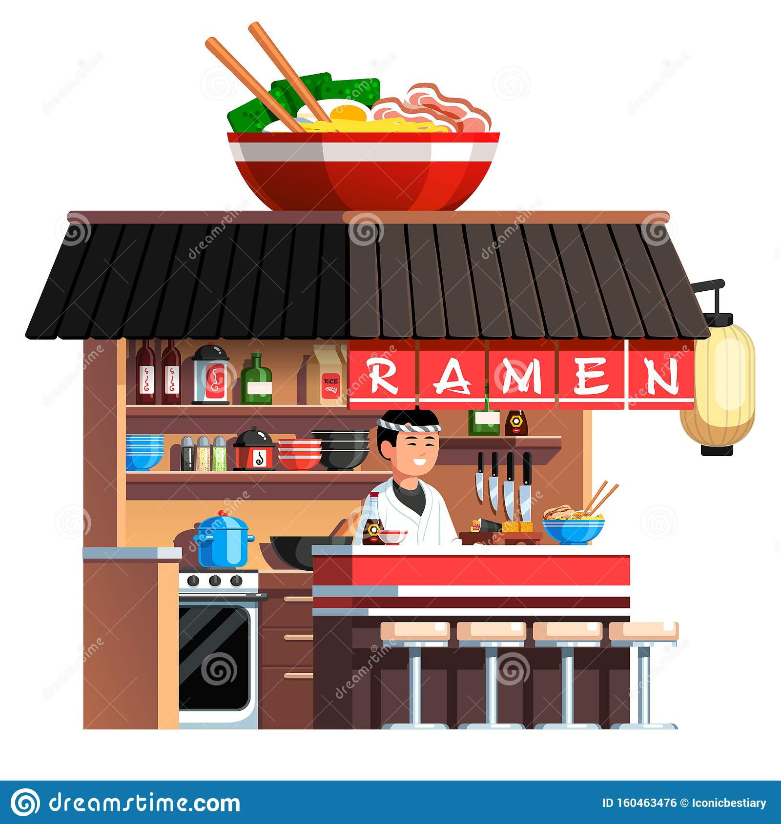 Chashu Ramen Bowl Decorated Asian Soup Restaurant Stock Vector Illustration Of Dish Background 160463476