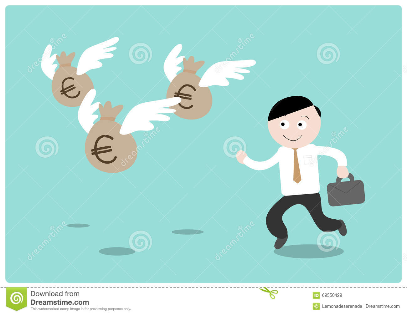 Chasing The Money Euro Cartoon Vector Cartoondealer Com 69550429