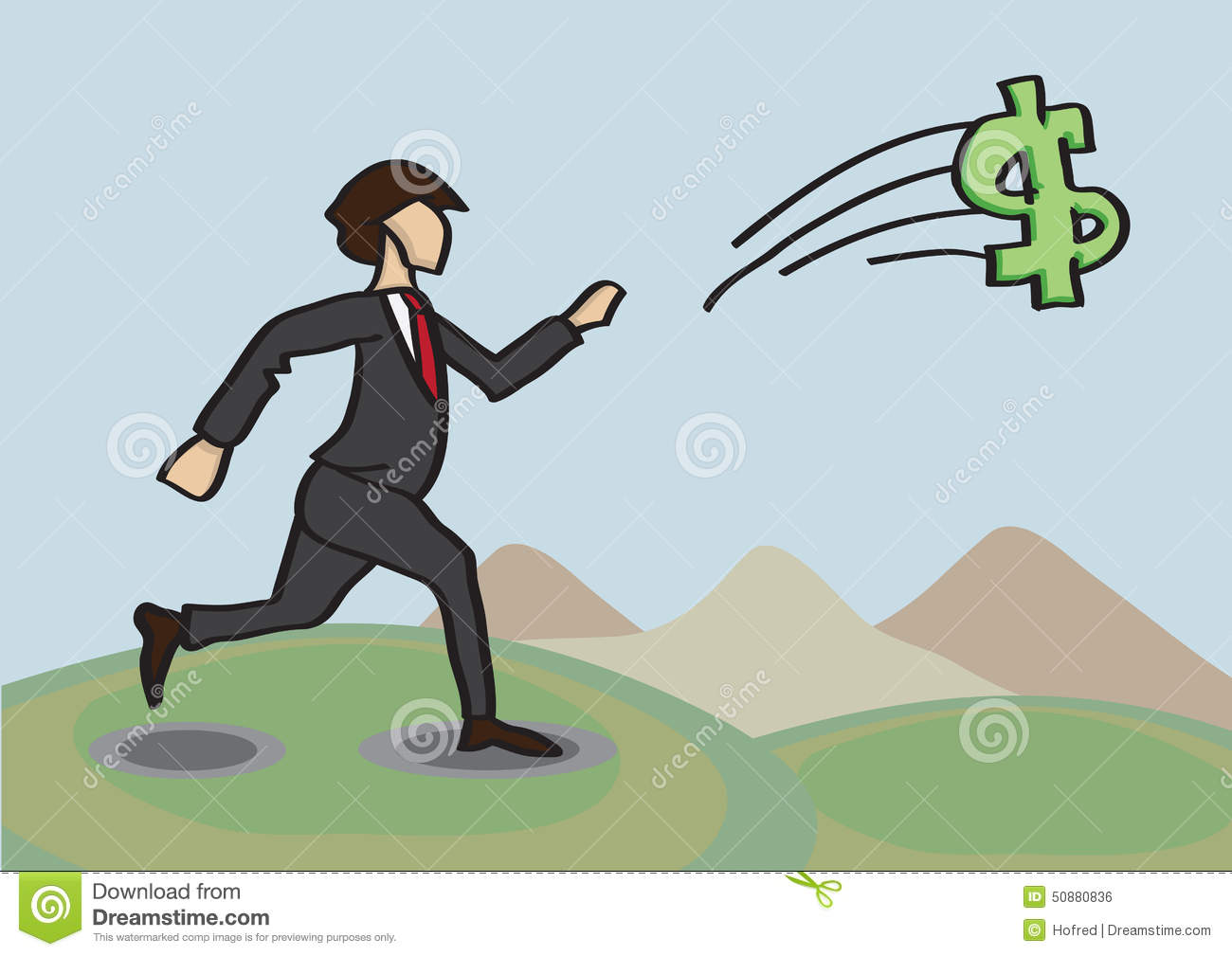 Chasing After Money Metaphor Vector Cartoon Illustration Stock Vector ...