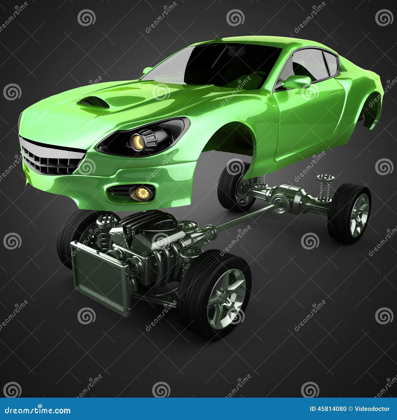 Chasis del coche con el motor de sportcar brandless de lujo