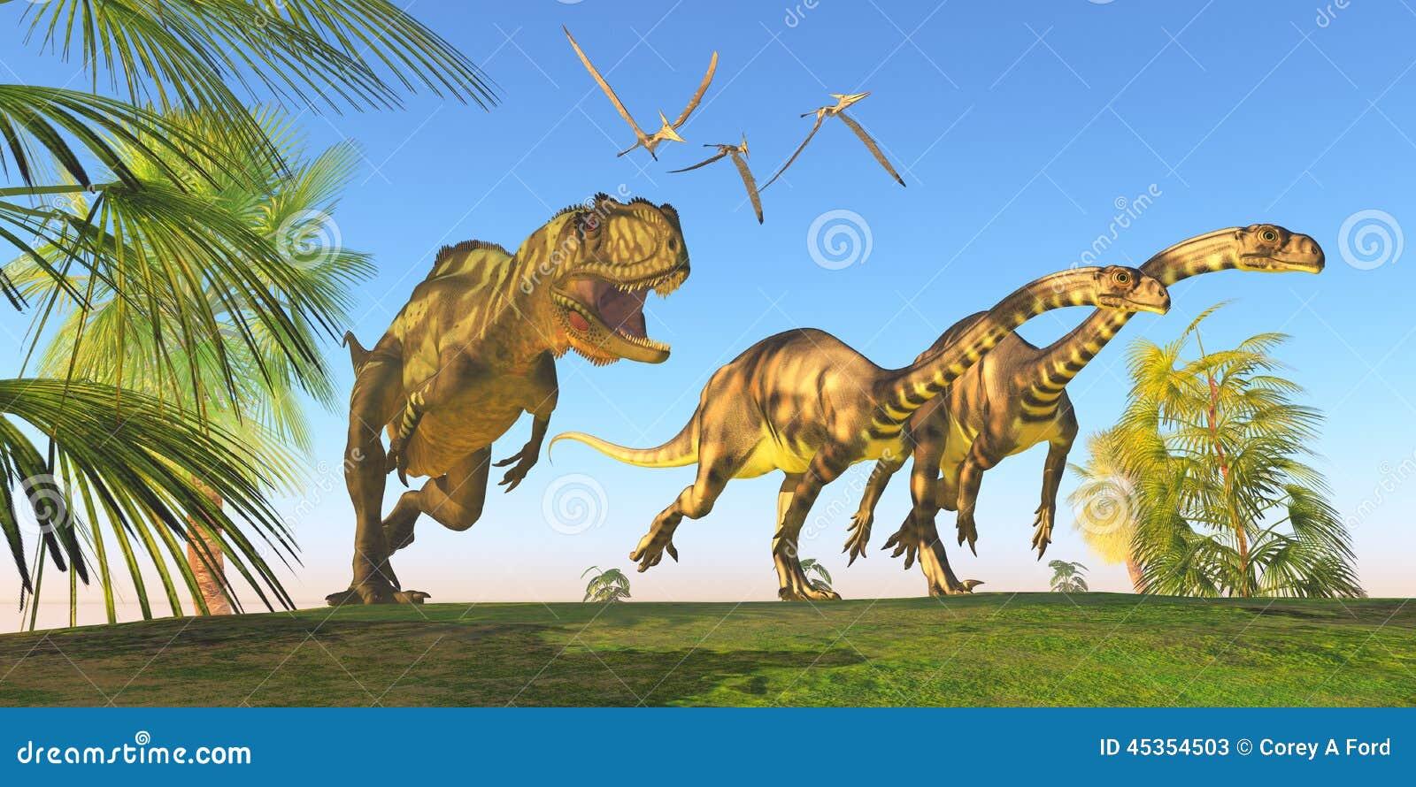 Chasse à dinosaure de Yangchuanosaurus