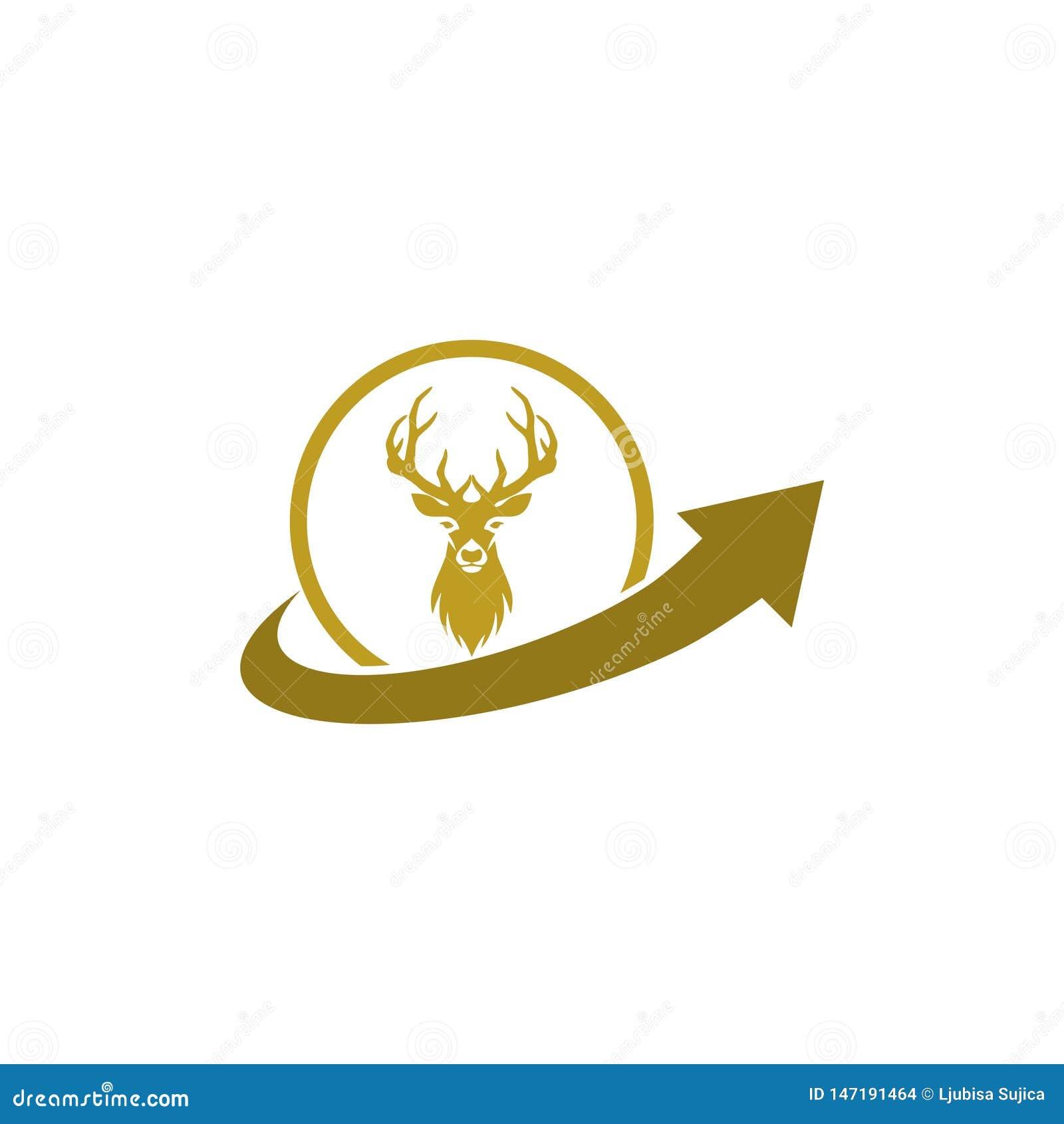 Chasse de l inspiration de conception de logo, conception principale de logo de cerfs communs