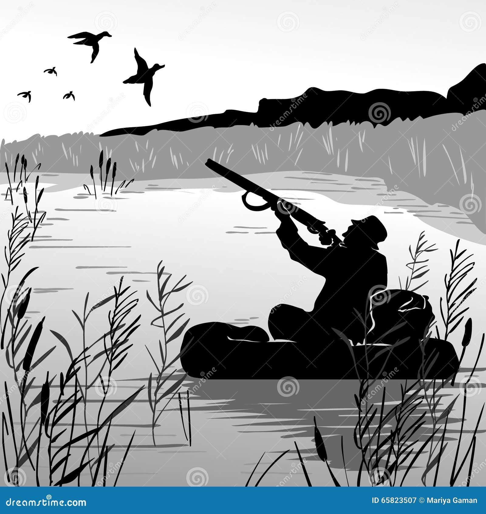 Chasseur dans des canards de vol de tir de bateau chasseur - Illustration canard ...