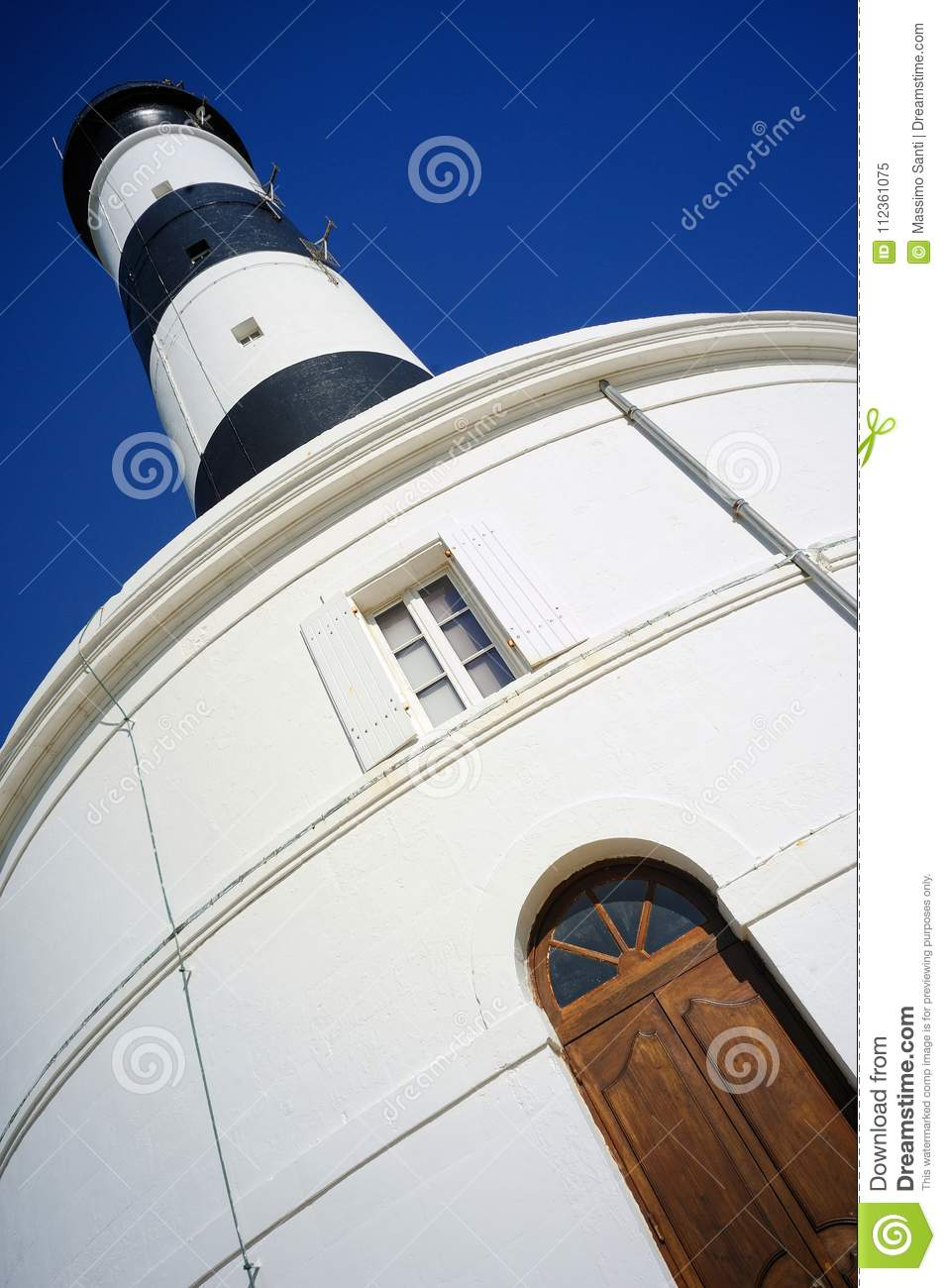 Phare de Chassiron. Island D`Oleron in the French Charente with striped lighthouse. France.