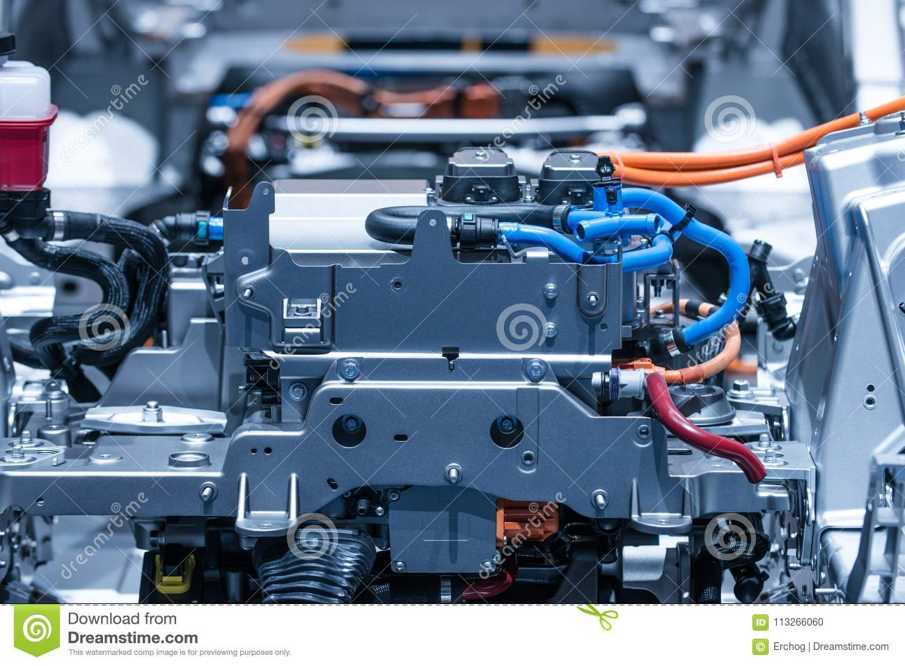 Chassis Of The Electric Car With Powertrain And Power Connections ...