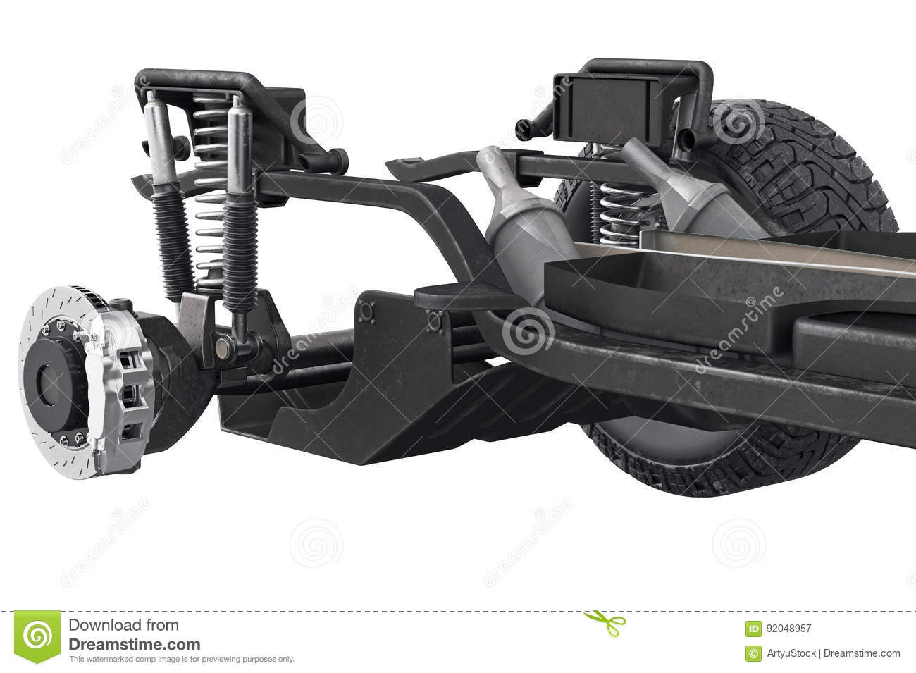 Chassis Frame Axle, Close View Stock Illustration - Illustration of ...