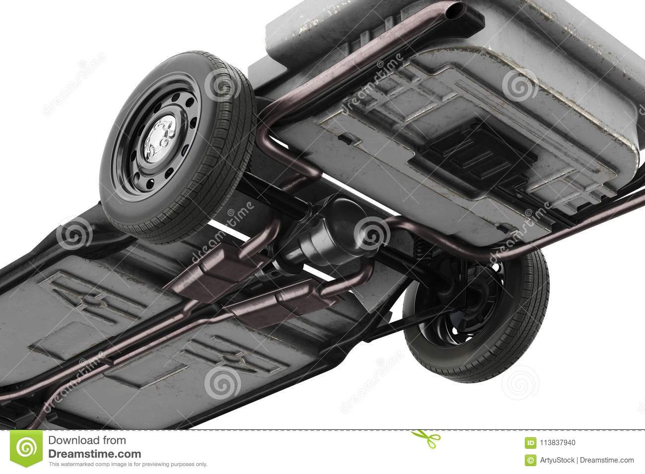 Chassis Frame Car, Close, Bottom View Stock Illustration ...