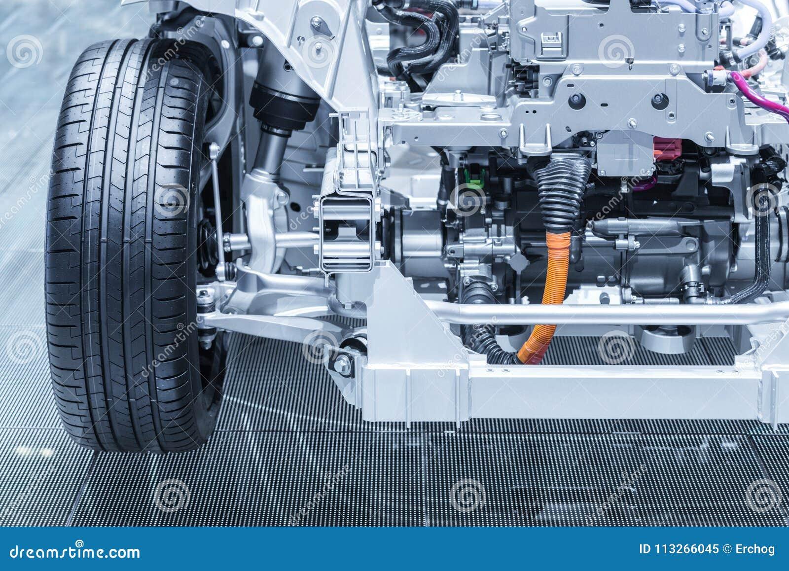 Chassis Van De Elektrische Hybride Auto Met Powertrain