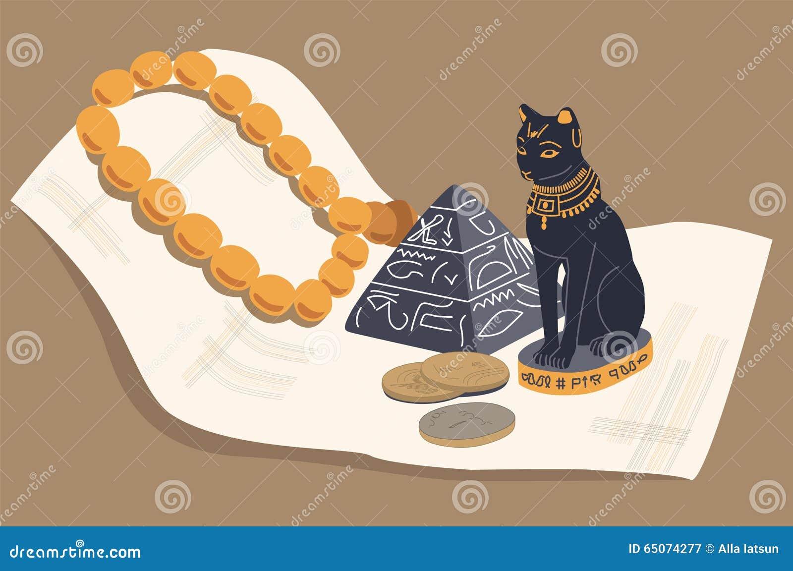 Chat égyptien, une pyramide et papyrus Vecteur, ENV 10
