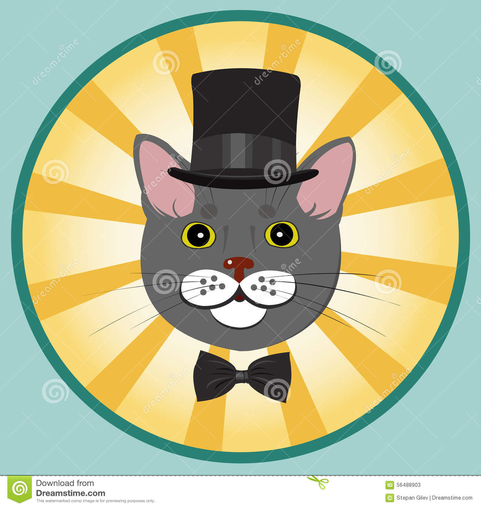Chat élégant dans le chapeau supérieur et le noeud papillon