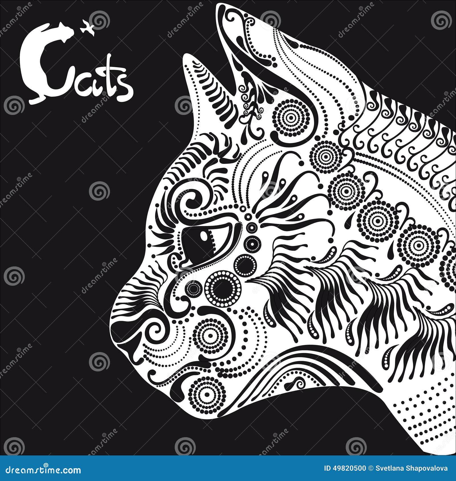 chat blanc mod le d coratif pour un tatouage ou pochoir illustration de vecteur image 49820500. Black Bedroom Furniture Sets. Home Design Ideas