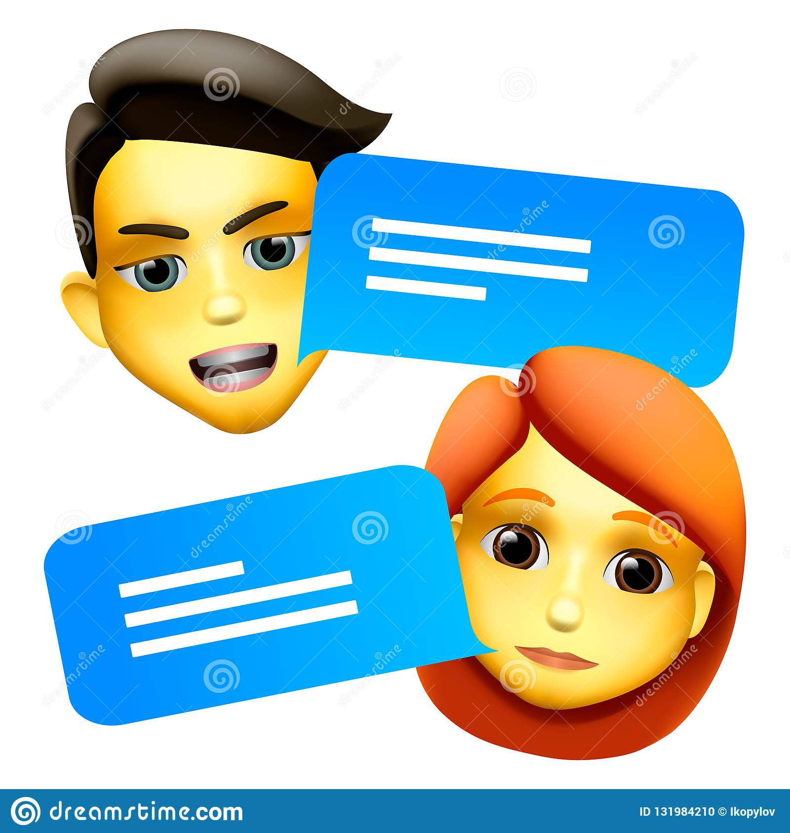 chat bot man and woman emoji concept modern style cartoon character