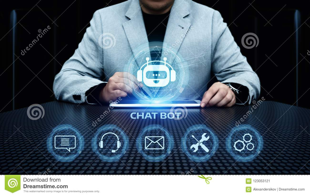 Chat bot Robot Online Chatting Communication Business Internet Technology Concept