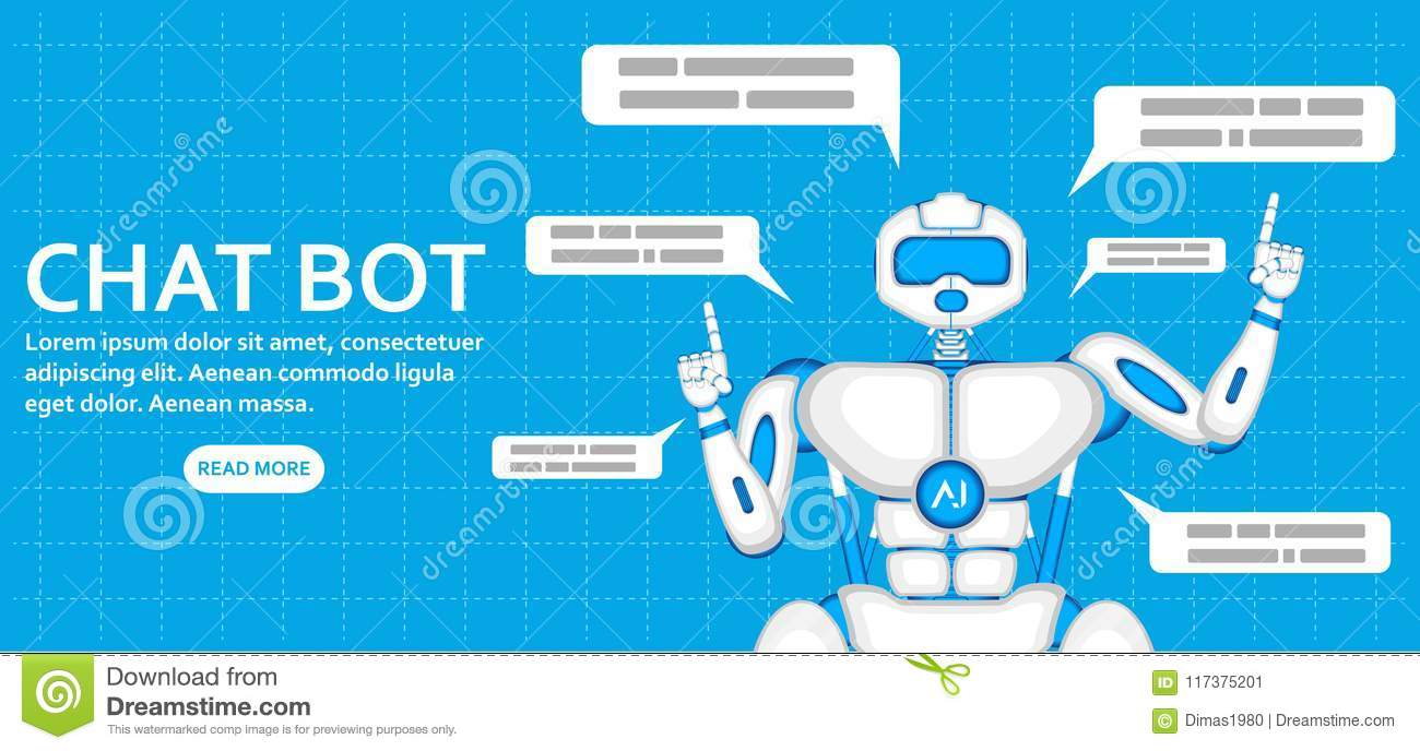 Trendy Chatbot Application With Dialogue Window Stock