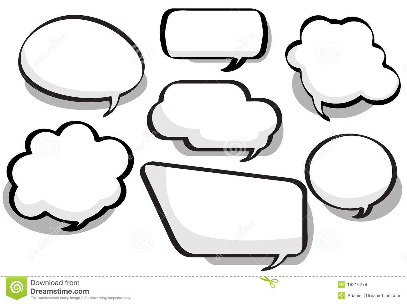 Chat bubbles in a variety of circular, bubble and rectangular styles.