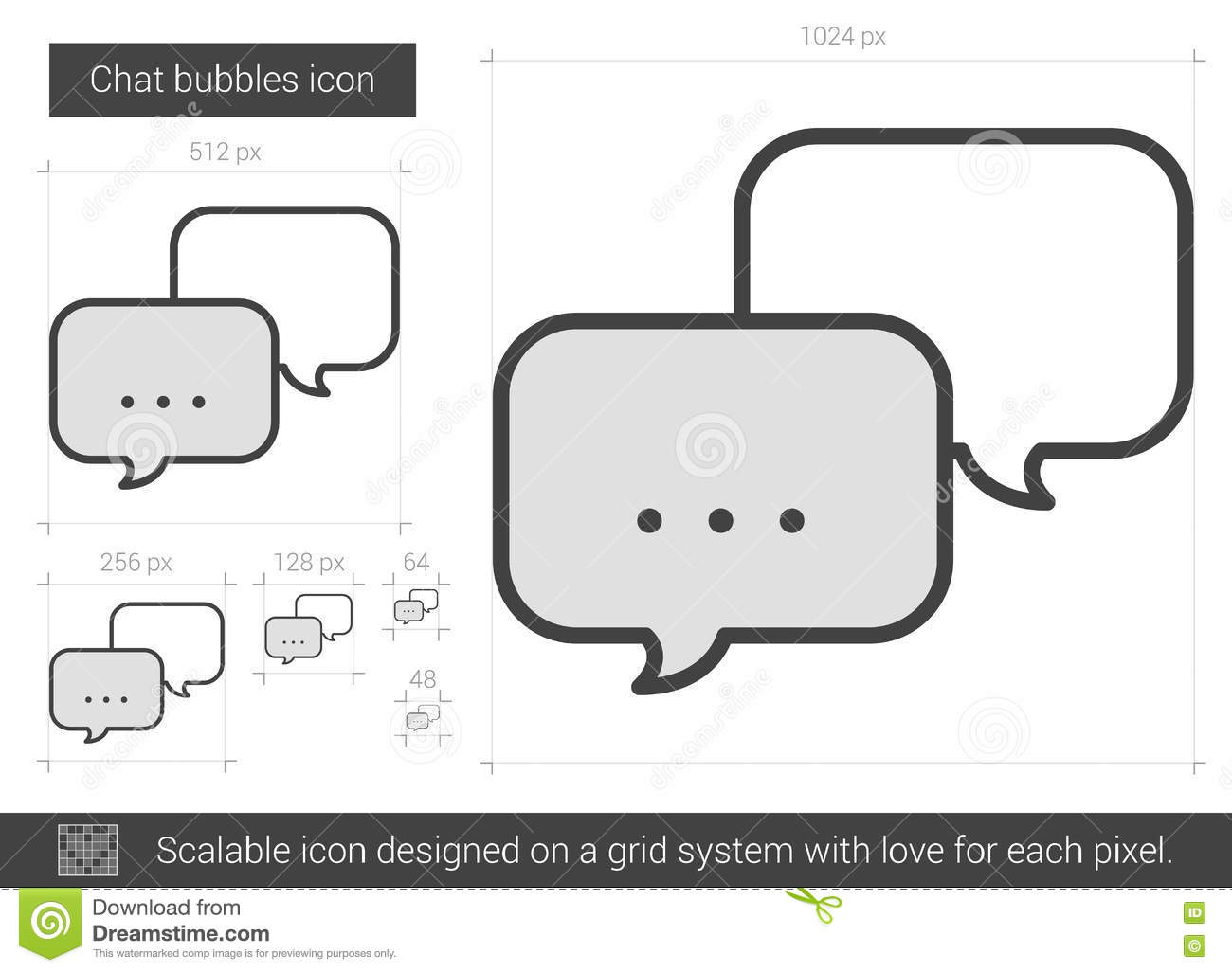 Chat bubbles line icon  stock vector  Illustration of element - 80686102