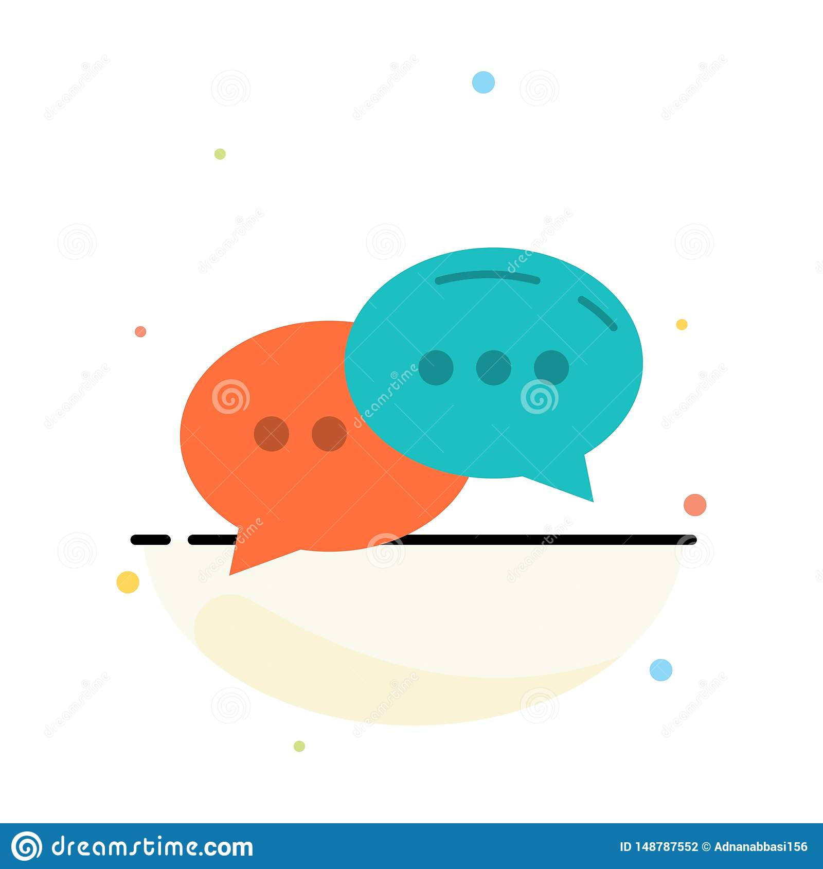 Chat, Chatting, Conversation, Dialogue Abstract Flat Color Icon Template