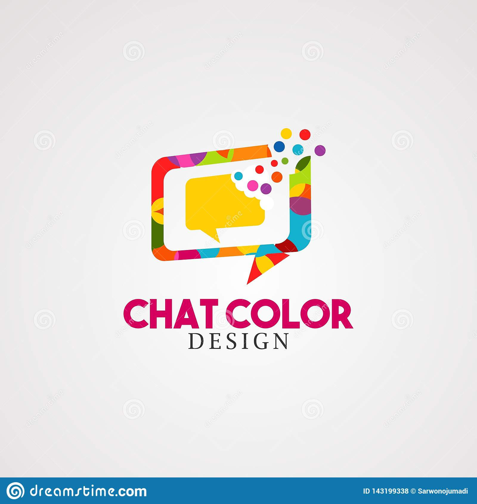 Chat color with colorful bubble box logo vector, icon, element, and template for business