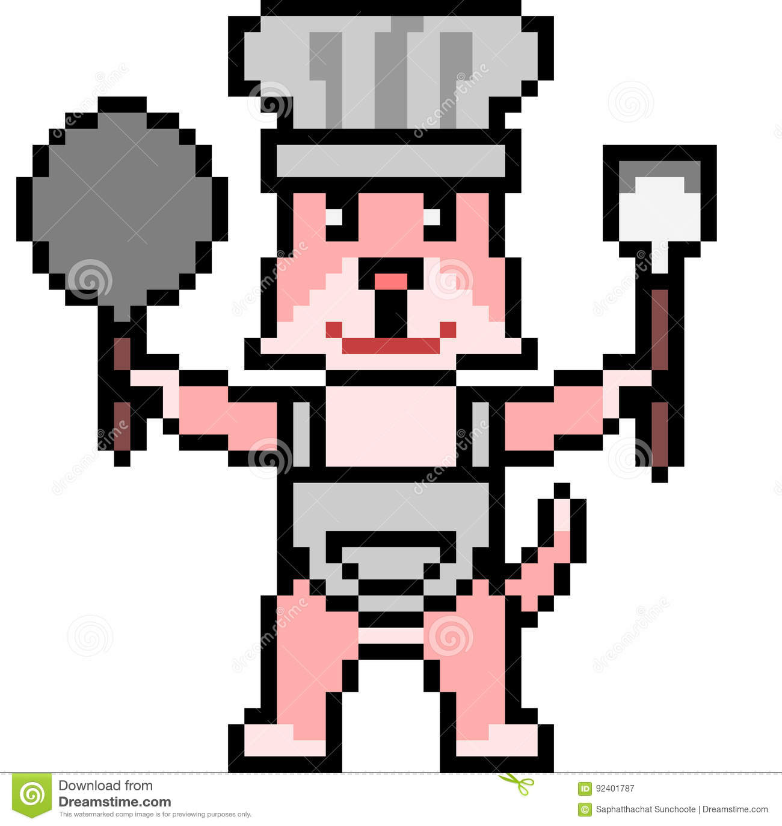 Chat De Chef Dart De Pixel Illustration Stock