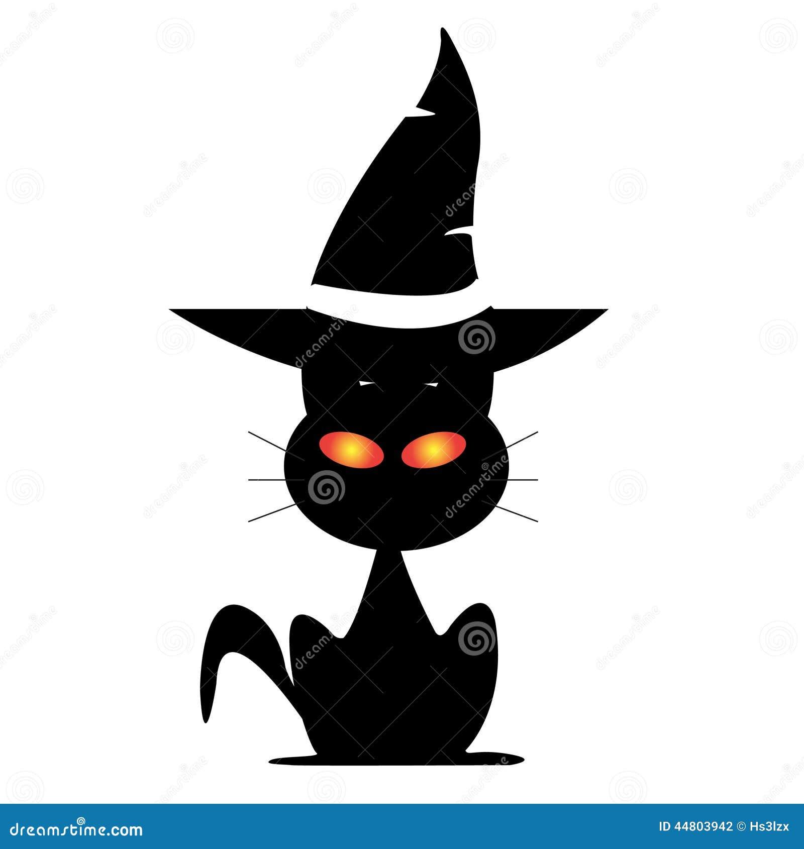 chat de halloween sous le chapeau de la sorci re illustration stock image 44803942. Black Bedroom Furniture Sets. Home Design Ideas