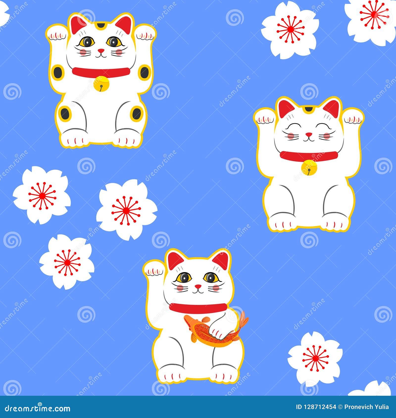 Chat De Maneki Neko Modèle Sans Couture Avec Les Chats