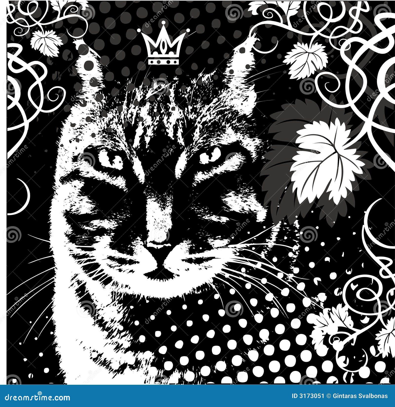 Chat de roi de vecteur