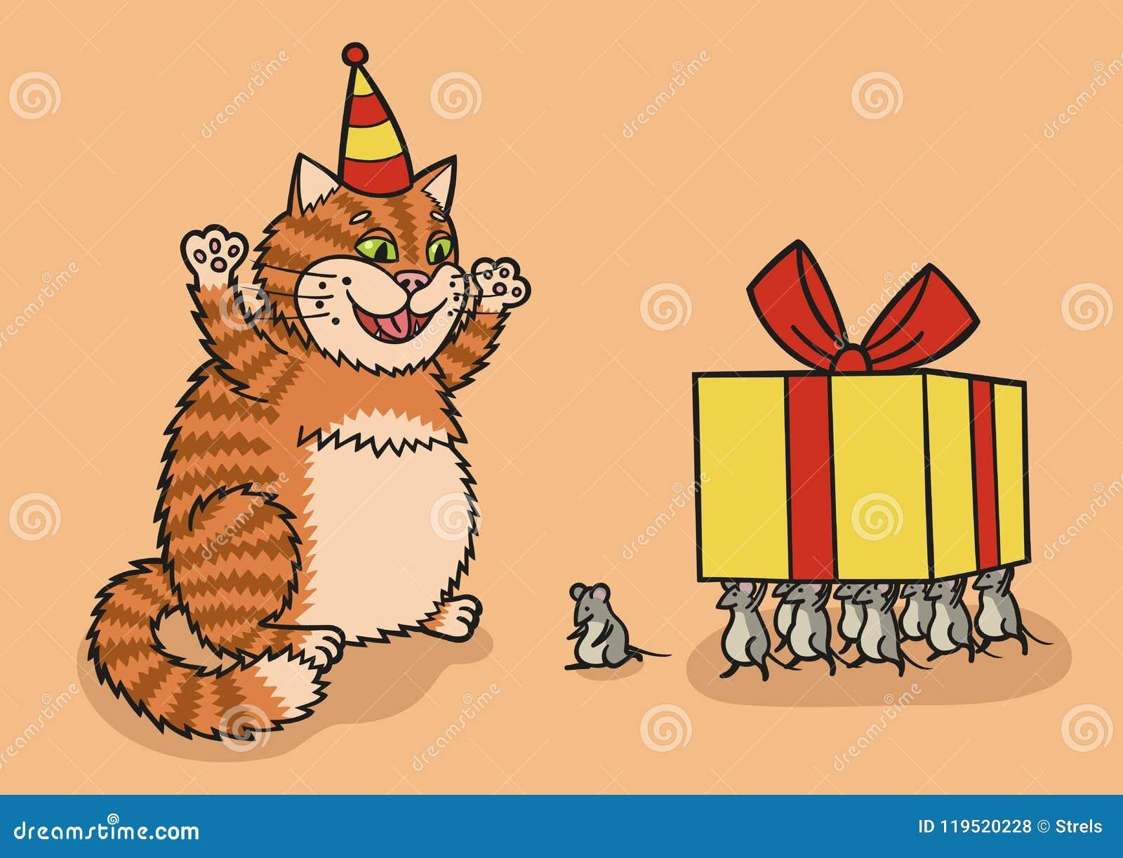 Chat et souris avec un cadeau