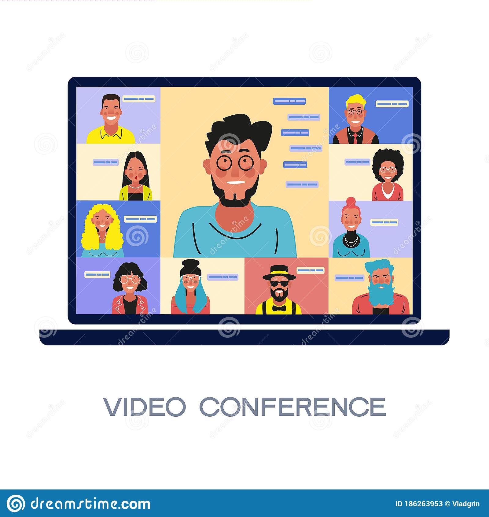 Chat With Friends Online. Collective Virtual Meeting Stock