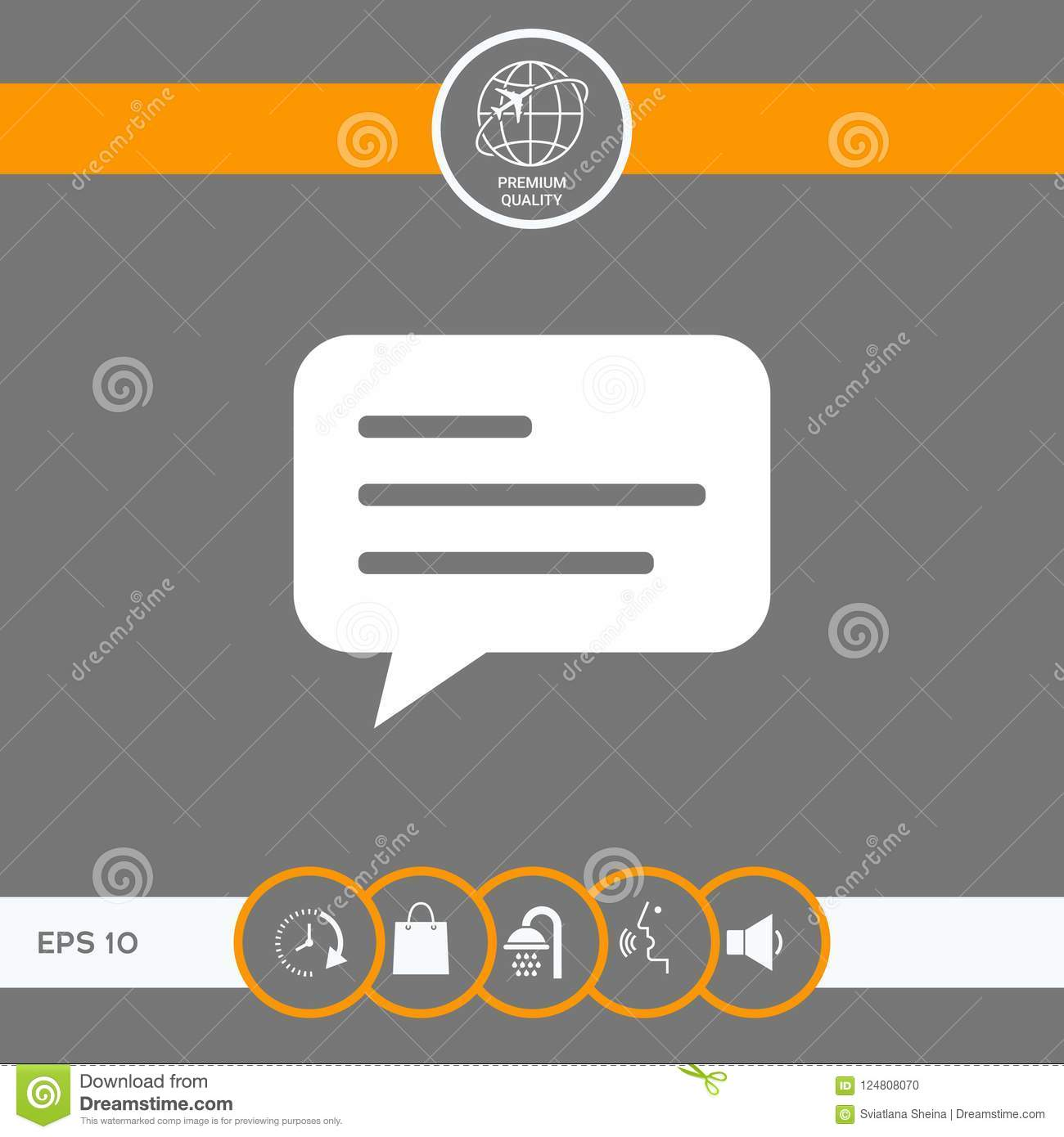 Chat Icon Sign With Text Symbol Stock Vector Illustration Of