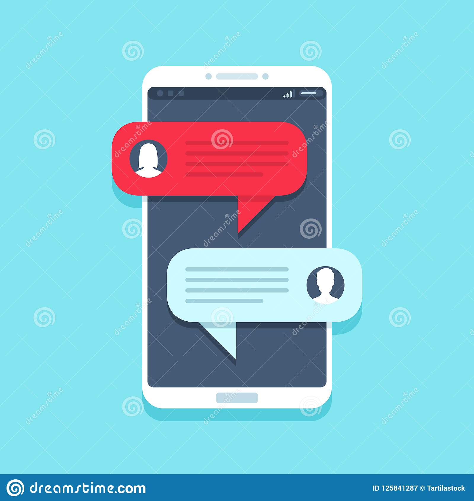 Chat message on smartphone. Mobile phone chatting, people texting messages and sms bubble on phones screen vector flat